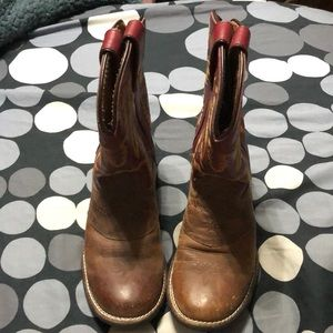 Justin boots brown and red size 12.5